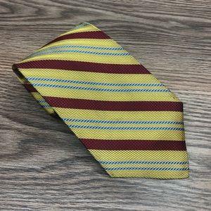 Hickey Freeman Gold w/ Blue & Maroon Stripe Tie